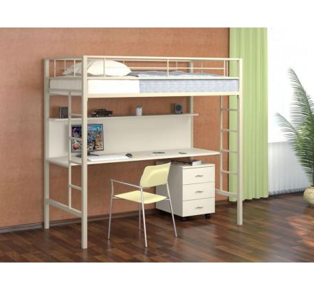 Кровать-чердак Севилья-1 металлическая со столешницей. Тумба с 3 ящиками +2400 руб