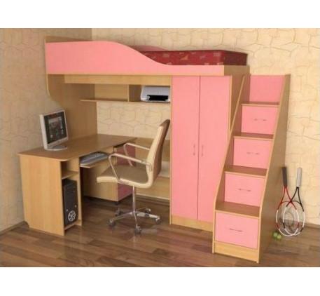 Кровать-чердак Квартет-1 для девочки, спальное место 190х80 см