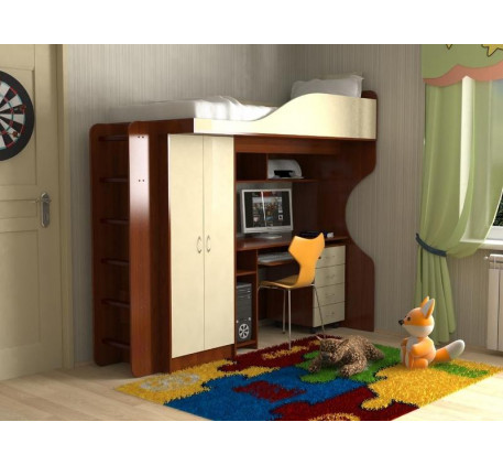 Кровать-чердак Квартет-1 с деревянной или металлической лестницей