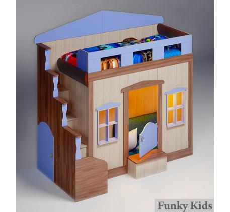 Кровать с домиком внизу Фанки Хоум, спальное место 180х80 см (Funky Home арт. 11001)
