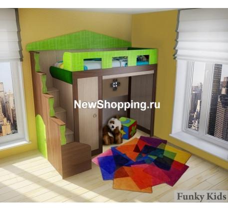 Кровать-чердак в виде домика Фанки Хоум с нишей, спальное место 180х80 см (Funky Home арт. 11004)