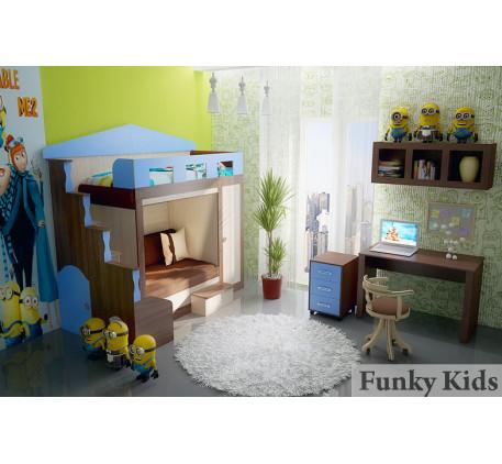 Двухъярусная кровать-замок для двоих детей Фанки Хоум (Funky Home) арт. 11003 +тумба ФТ-08 +стол ФТ-..