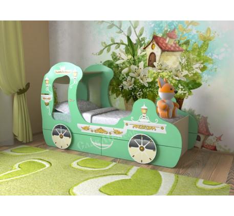 Кровать-карета для девочки, спальное место детской кровати 1600*700 мм.