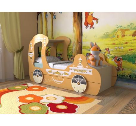 Детская кровать-карета, спальное место детской кровати 1600*700 мм.