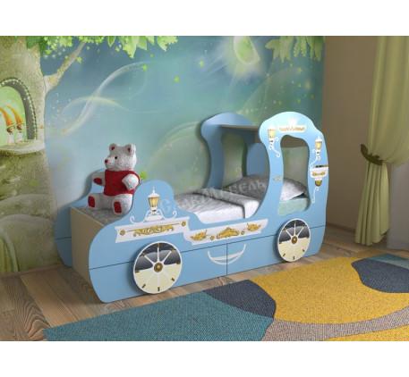 Кровать для девочки в виде кареты, спальное место детской кровати 1600*700 мм.