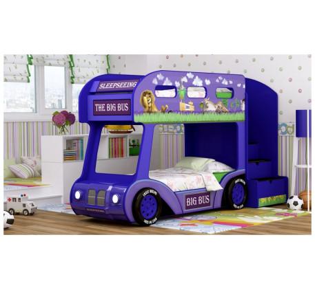 Кровать-автобус для детей Мадагаскар Люкс с объемным бампером, подсветкой фар, объемными колесами. С..