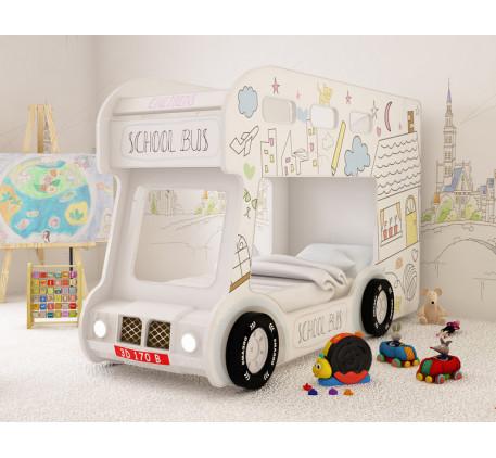 Кровать в виде автобуса Школьный Люкс с объемным бампером, подсветкой фар, объемными колесами. Спаль..