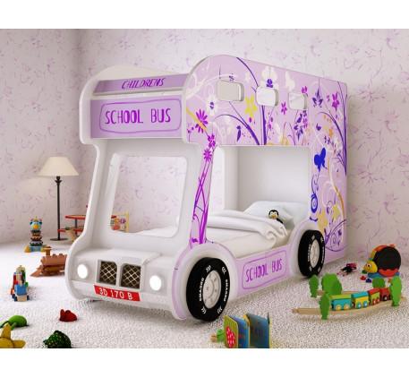 Детская кровать-автобус Школьный Люкс с объемным бампером, подсветкой фар, объемными колесами. Спаль..