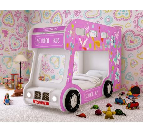 Двухъярусная кровать-автобус Школьный Люкс с объемным бампером, подсветкой фар, объемными колесами. ..
