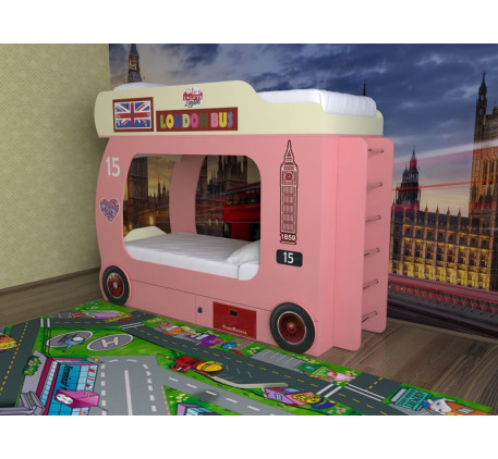 Кровать лондонский Автобус двухъярусная (Славмебель) с лестницей с металлическими или деревянными ст..