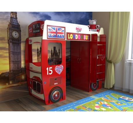 Кровать-чердак автобус Лондон (Славмебель), спальное место 190х80 см