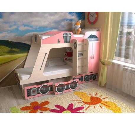 Детская кровать-паровоз Славмебель. Верхнее спальное место 1900*800, нижнее 1900/1600*800 мм.