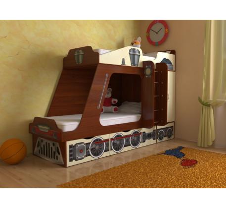 Кровать-паровоз для детей Славмебель. Верхнее спальное место 1900*800, нижнее 1900/1600*800 мм.