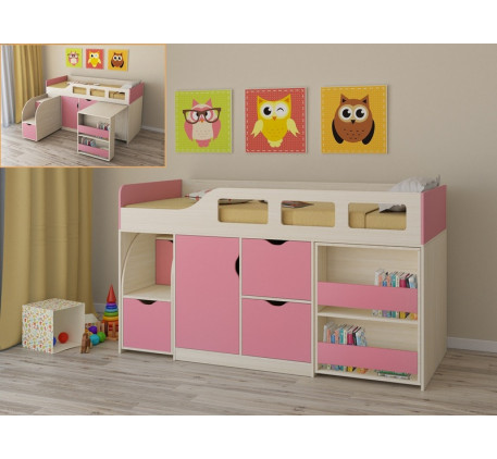 Детская кровать-чердак для девочки Астра-8, спальное место 190х80 см