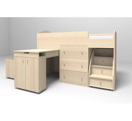 Детская кровать Малыш, спальное место кровати-чердака 160х70 см
