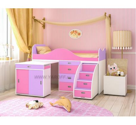 Кровать-чердак Малыш-Люкс, спальное место детской кровати 180х80 см. Новинка!