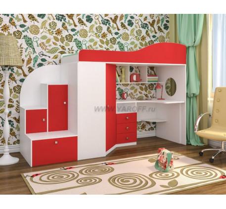 Кровать-чердак Кадет с лестницей с ящиками, спальное место 190х80 см