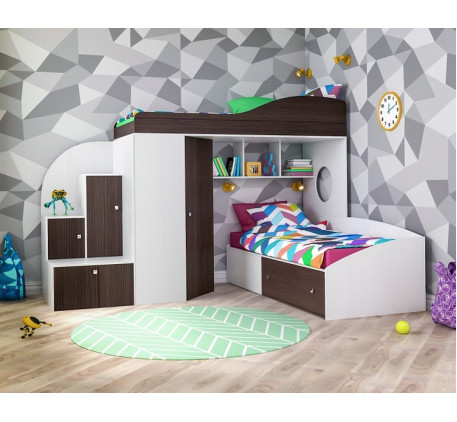 Двухъярусная кровать-чердак Кадет-2, верхнее спальное место 190х80, нижнее 200х90 см