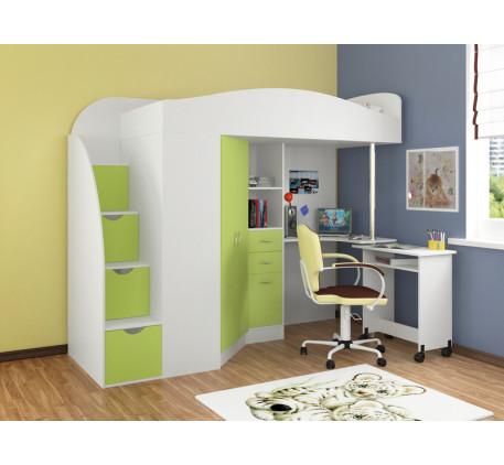 Кровать-чердак с лестницей с ящиками Теремок-1 Гранд, место для сна 190х80 см