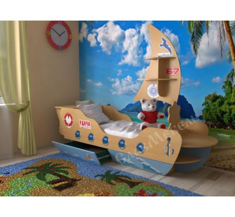 Детская кровать-корабль, спальное место 160х70 см. Дополнительно полка в виде Паруса +1900 руб.
