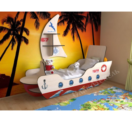 Кровать-корабль для мальчика, спальное место 160х70 см. Дополнительно полка в виде Паруса +1900 руб.