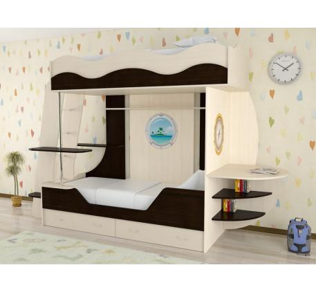 Детская двухъярусная кроватка Кораблик-2, спальные места кровати-корабля 190х80 см