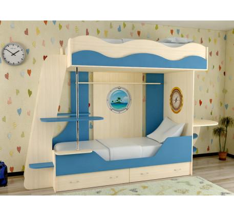 Детская двухъярусная кровать Кораблик-2, спальные места кровати-корабля 190х80 см