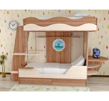 Детская кровать Кораблик-2 двухъярусная, спальные места кровати-корабля 190х80 см