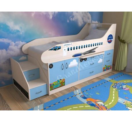 Кровать-самолет с лестницей, спальное место детской кровати 190х80 см