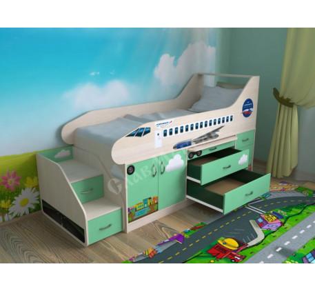 Детская кровать-самолет с лестницей, спальное место кровати 190х80 см