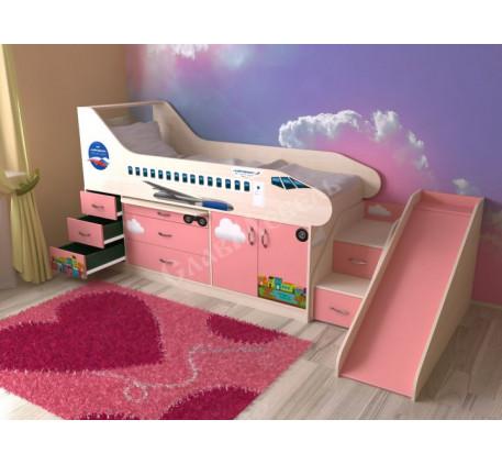 Детская кровать-самолет с лестницей и горкой, спальное место 190х80 см
