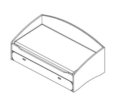 Кровать (без основания и матраца). Кровать включает  выдвижной вместительный ящик  для белья, игруше..