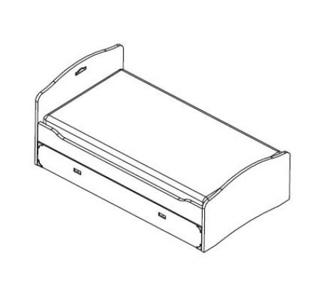 Кровать 190х90 см. с выдвижным ящиком или вторым спальным местом (без основания).