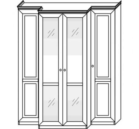 Шкаф 2548 (4 двери) с зеркалами