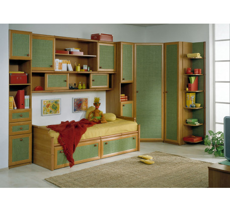 Детская Маугли. Композиция №1: Секция 1-дверная с 3 ящиками (М2254), Кровать (М1902), Антресоль (М06..