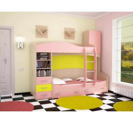 Кровать двухъярусная Домино 1 в комплекте с навесными полками