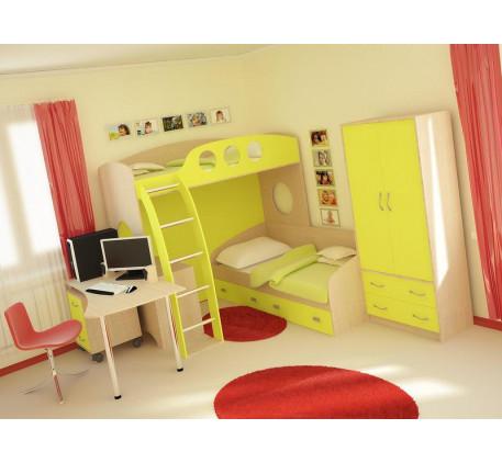 Детская мебель Тандем: Кровать-чердак (В1816*Ш1972*Г1300) -8 770 р., Кровать нижняя (В350*Ш1932*Г832..