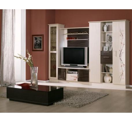 Стенка Белла-1. Комплектация стенки: Шкаф 400 для посуды, Тумба под ТВ с панелью, Шкаф 1200 для бель..