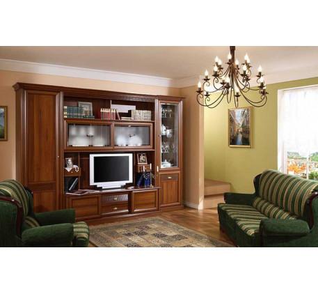 Стенка Изотта-1. Комплектация гостиной: Шкаф-пенал левый (ИТ-9/1), Шкаф-витрина (ИТ-10), Шкаф-пенал ..