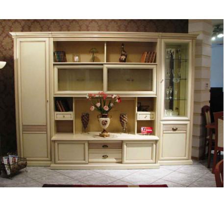 Стенка Изотта-5. Комплектация: Шкаф-пенал левый (ИТ-9/1), Шкаф-витрина (ИТ-10), Шкаф-пенал для посуд..