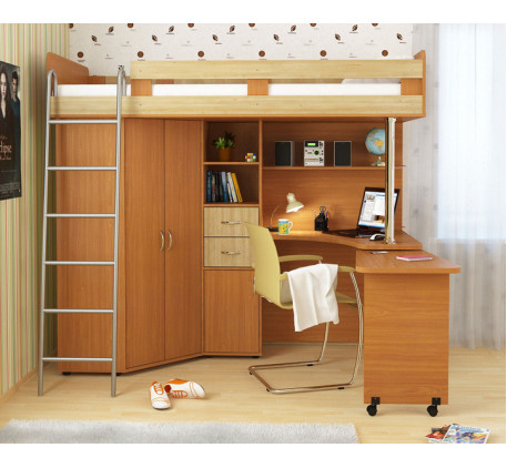 Кровать-чердак Карлсон (арт. 14.717), спальное место кровати 2000*800 мм. *С дер. лестницей Карлсон ..