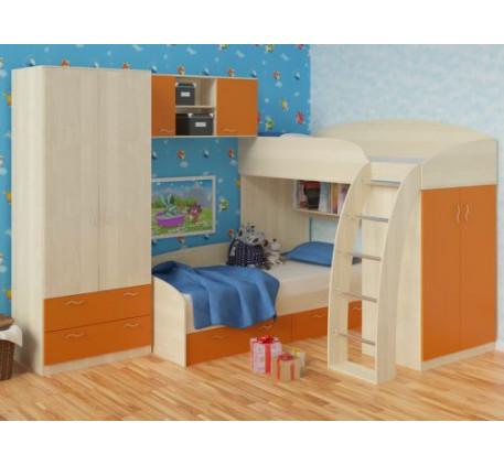 Детская кровать Соня-1 (верхняя)+Соня-2 (нижняя)+Соня-3 (шкаф с навесной полкой), спальное место кро..