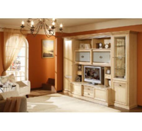 Стенка Изотта-4. Комплектация гостиной: Шкаф-пенал левый (ИТ-9/1), Шкаф-витрина (ИТ-10), Шкаф-пенал ..