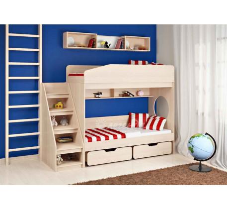 Детская двухъярусная кровать Легенда-10 с лестницей ЛУ-10, спальные места 180х80 см
