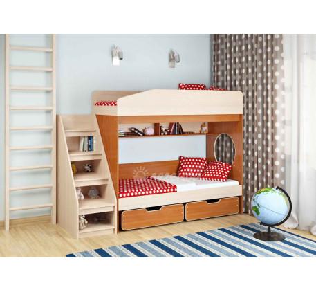 Двухъярусная кровать подростковая Легенда-10 с лестницей ЛУ-10