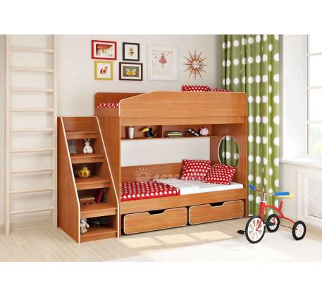 Двухъярусная кровать для подростков Легенда-10 с лестницей ЛУ-10