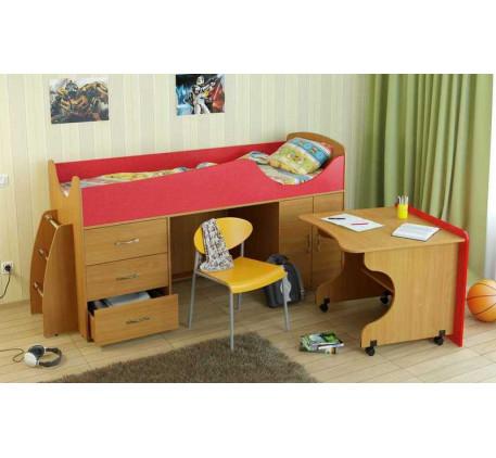 Детская кровать-чердак Карлсон Мини-4 с мобильным столом (арт. 15.7.004), спальное место кровати 186..