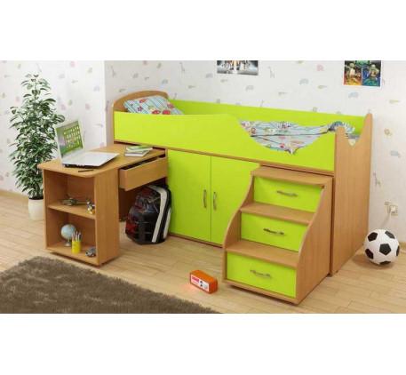 Детская кровать-чердак Карлсон Мини-7 с выдвижным столом (арт. 15.7.007), спальное место кровати 186..
