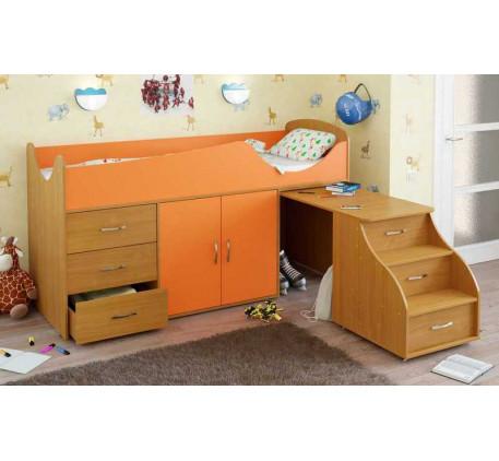 Детская кровать-чердак Карлсон Мини-10 с выдвижным столом (арт. 15.7.010), спальное место кровати 18..