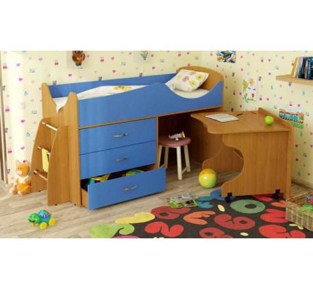 Детская кровать-чердак Карлсон Микро-203 с мобильным столом (арт. 15.8.203), спальное место кровати ..